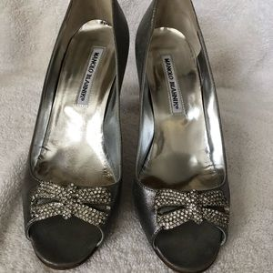 Manolo Blahnik Peep Toe Embellished Pump